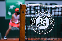 8th June 2021; Roland Garros, Paris France; French Open tennis championships day 10;  Tamara Zidansek ( Slovenia ) showing the Roland Garros logo on net