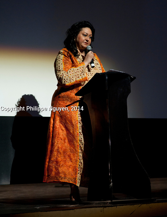 Geraldine Le Chene, General Manager speak while Vues D'afriques (cinema festival) celebrate its 30the anniversary at the Imperial Cinema in Montreal, Canada, April 25, 2014.<br /> <br /> Photo : Philippe Nguyen