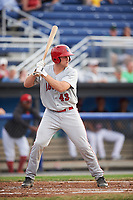 Auburn Doubledays catcher Nic Perkins (43) at bat during a game against the Batavia Muckdogs on July 6, 2017 at Dwyer Stadium in Batavia, New York.  Auburn defeated Batavia 4-3.  (Mike Janes/Four Seam Images)