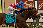 DEL MAR, CA  JULY 24:  #9 Madone, ridden by Juan Hernandez, holds on to edge out #2 Going Global, ridden by Flavien Prat, and win the San Clemente Stakes (Grade ll) on July 24, 2021 at Del Mar Thoroughbred Club in Del Mar, CA  (Photo by Casey Phillips/Eclipse lSportswire/CSM)