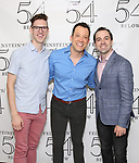 Ben Durocher, John Tartaglia and Rob McClure backstage at the 'Avenue Q' 15th Anniversary Reunion Concert at Feinstein's/54 Below on July 30, 2018 in New York City.