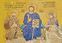 11th Century Byzantine mosaic of Christ Pantocrator with (left) Emperor Constantine IX Monmachus making an offering of money and (right) Empress Zoe. Hagia Sophia, Istanbul, Turkey