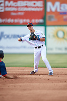 Lynchburg Hillcats shortstop Luke Wakamatsu (12) turns a double play during the first game of a doubleheader against the Potomac Nationals on June 9, 2018 at Calvin Falwell Field in Lynchburg, Virginia.  Lynchburg defeated Potomac 5-3.  (Mike Janes/Four Seam Images)