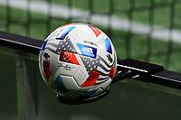 ATLANTA, GA - APRIL 24: 2021 MLS match ball during a game between Chicago Fire FC and Atlanta United FC at Mercedes-Benz Stadium on April 24, 2021 in Atlanta, Georgia.