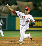 Los Angeles Angels pitcher, Ernesto Frieri, closes out the game against the Seattle Mariners.