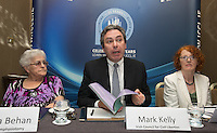 ***NO FEE PIC *** 13/06/2014 (L to R) Matilda Behan Survivors of Symphysiotomy Mark Kelly ICCL (Irish Council for Civil Liberties) Marie O Connor Survivors of Symphysiotomy during the launch of the Civil Society Stakeholder Report tracking Ireland's record under the United Nations International Covenant on Civil and Political Rights at Buswell's hotel, Dublin. Photo: Gareth Chaney Collins