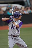 James Madison University outfielder Johnny Bladel #15 at bat during a game against the Coastal Carolina Chanticleers at Watson Stadium at Vrooman Field on February 17, 2012 in Conway, SC.  Coastal Carolina defeated James Madison 7-1.  (Robert Gurganus/Four Seam Images)