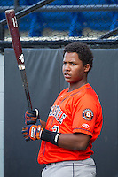 Juan Santana (3) of the Greeneville Astros prior to the game against the Burlington Royals at Burlington Athletic Park on June 29, 2014 in Burlington, North Carolina.  The Royals defeated the Astros 11-0. (Brian Westerholt/Four Seam Images)