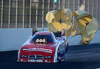 Nov. 10, 2012; Pomona, CA, USA: NHRA funny car driver Johnny Gray during qualifying for the Auto Club Finals at at Auto Club Raceway at Pomona. Mandatory Credit: Mark J. Rebilas-