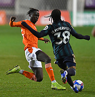 Blackpool's Cameron Antwi's tackle that led to his red card<br /> <br /> Photographer Dave Howarth/CameraSport<br /> <br /> EFL Trophy - Northern Section - Group G - Blackpool v Leeds United U21 - Wednesday 11th November 2020 - Bloomfield Road - Blackpool<br />  <br /> World Copyright © 2020 CameraSport. All rights reserved. 43 Linden Ave. Countesthorpe. Leicester. England. LE8 5PG - Tel: +44 (0) 116 277 4147 - admin@camerasport.com - www.camerasport.com