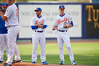 St. Lucie Mets pitchers Marcel Renteria (22) and Conner O'Neil (17) before a Florida State League game against the Florida Fire Frogs on April 12, 2019 at First Data Field in St. Lucie, Florida.  Florida defeated St. Lucie 10-7.  (Mike Janes/Four Seam Images)