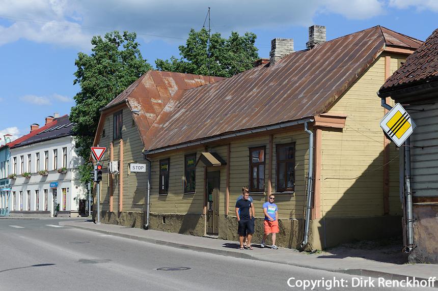 Holzhäuser in Talsi, Lettland, Europa