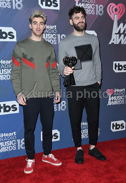 11 March 2018 - Inglewood, California - The Chainsmokers. 2018 iHeart Radio Awards - Press Room held at The Forum. Photo Credit: Birdie Thompson/AdMedia