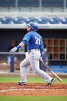 Dunedin Blue Jays outfielder L.B. Dantzler (21) at bat during a game against the Charlotte Stone Crabs on July 26, 2015 at Charlotte Sports Park in Port Charlotte, Florida.  Charlotte defeated Dunedin 2-1 in ten innings.  (Mike Janes/Four Seam Images)
