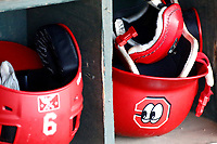 Batting helmets of the Chattanooga Lookouts in their respective slots prior to the game against the Montgomery Biscuits on May 26, 2018 at AT&T Field in Chattanooga, Tennessee. (Andy Mitchell/Four Seam Images)
