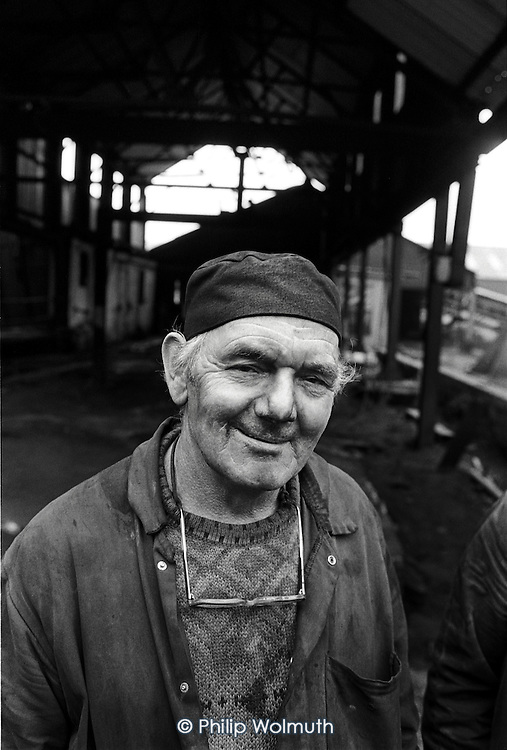 One of the last miners to go down Deep Navigation colliery in Treharris, South Wales, on the day it closed