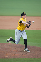 West Virginia Power relief pitcher Sam Street (34) in action against the Kannapolis Intimidators at CMC-Northeast Stadium on April 21, 2015 in Kannapolis, North Carolina.  The Power defeated the Intimidators 5-3 in game one of a double-header.  (Brian Westerholt/Four Seam Images)
