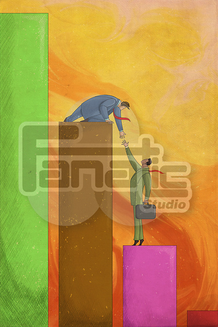 Illustrative image of businessman giving a helping hand to coworker representing support