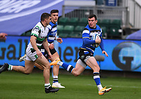 21st November 2020; Recreation Ground, Bath, Somerset, England; English Premiership Rugby, Bath versus Newcastle Falcons; Ben Spencer of Bath makes a break chased by Adam Radwan of Newcastle Falcons