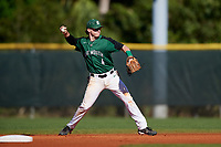 Dartmouth Big Green second baseman Sean Sullivan (4) throws to first base during a game against the Northeastern Huskies on March 3, 2018 at North Charlotte Regional Park in Port Charlotte, Florida.  Northeastern defeated Dartmouth 10-8.  (Mike Janes/Four Seam Images)