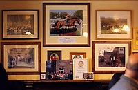 Pictured: A picture of Tobefair at Cresselly Arms pub in Cresswell Quay, Pembrokeshire, Wales, UK. Thursday 16 March 2017<br /> Re: A racehorse owned by a syndicate from Pembrokeshire which was a favourite to win at this year's Cheltenham Festival, has lost.<br /> Tobefair, a seven-year-old gelding, has won his last seven races.<br /> He was gifted as a colt to Michael Cole three years ago, in return for looking after two fillies on his farm.<br /> Unable to afford the training costs on his own, he decided to offer 50% of the ownership to people he knew through his local pub, the Cresselly Arms at Cresswell Quay Quay.<br /> The syndicate grew to 17 members but none except Mr Cole had owned a racehorse before.<br /> They said they were amazed when Tobefair started winning races and never dreamed he would make it to Cheltenham.