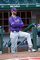 Furman Paladins head coach Brett Harker (31) watches from the dugout during the game against the Wake Forest Demon Deacons at BB&T BallPark on March 2, 2019 in Charlotte, North Carolina. The Demon Deacons defeated the Paladins 13-7. (Brian Westerholt/Four Seam Images)
