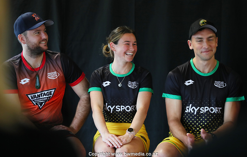 L_R: Leon Hayward, Kelsey Smith, Jacob Smith. Hockey Premier League Official Launch, Auckland Grammar Hockey Turf, Auckland, New Zealand. Photo: Simon Watts/www.bwmedia.co.nz/HockeyNZ