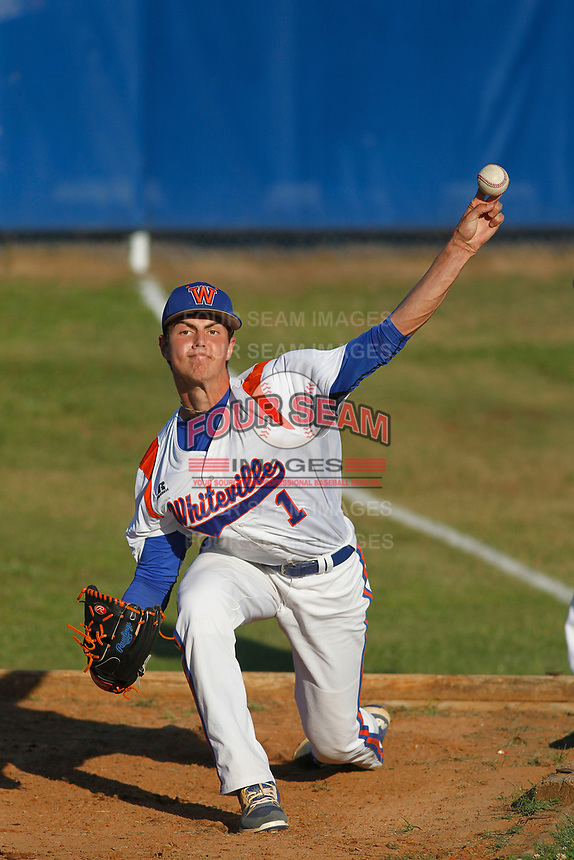 Whiteville High School Wolfpack pitcher MacKenzie Gore (1) throwing in the bullpen before a game against the Rosewood High School Eagles at Legion Stadium  on May 26, 2017 in Whiteville, North Carolina. Whiteville defeated Rosewood 5-0 to win the eastern 1-A baseball championship and advance to the state finals. (Robert Gurganus/Four Seam Images)
