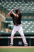 GCL Orioles Andrew Jayne (11) at bat during a Gulf Coast League game against the GCL Braves on August 5, 2019 at Ed Smith Stadium in Sarasota, Florida.  GCL Orioles defeated the GCL Braves 4-3 in the second game of a doubleheader.  (Mike Janes/Four Seam Images)