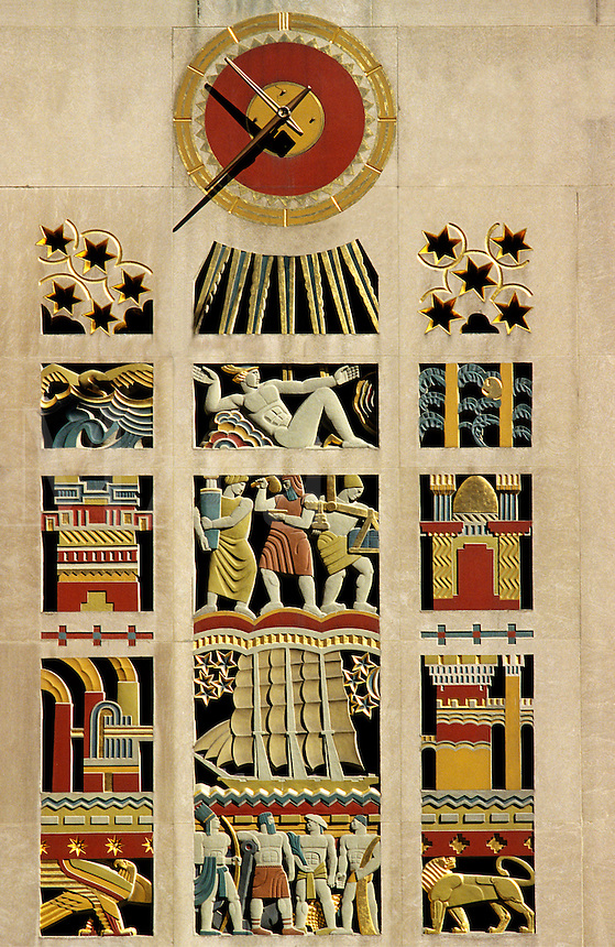 New York. Art deco mural and clock at Rockefeller Plaza. United States of America..