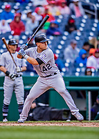 15 April 2018: Colorado Rockies infielder Pat Valaika in action against the Washington Nationals at Nationals Park in Washington, DC. All MLB players wore Number 42 to commemorate the life of Jackie Robinson and to celebrate Black Heritage Day in pro baseball. The Rockies edged out the Nationals 6-5 to take the final game of their 4-game series. Mandatory Credit: Ed Wolfstein Photo *** RAW (NEF) Image File Available ***