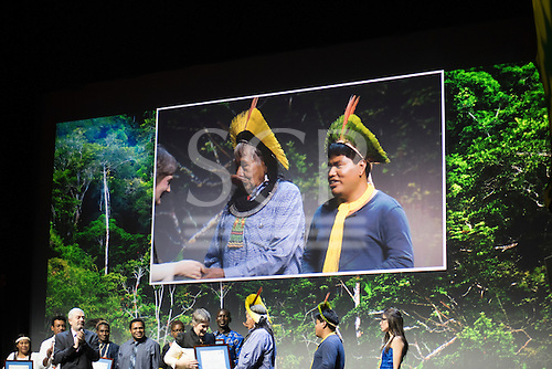 Paris, December 2015. United Nations Climate Change Conference - COP 21. United Nations Development Programme (UNDP) Equator Prize ceremony at the Theatre Mogador. Chief Raoni Metuktire, Patxon and Karina Paço receive the award on behalf of Instituto Raoni.