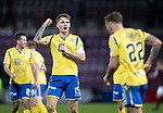 Hearts v St Johnstone…..14.12.19   Tynecastle   SPFL<br />Saints captain Jason Kerr celebrates at full time<br />Picture by Graeme Hart.<br />Copyright Perthshire Picture Agency<br />Tel: 01738 623350  Mobile: 07990 594431