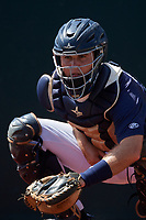 GCL Tigers East catcher David Noworyta (39) warms up a pitcher in the bullpen during a game against the GCL Tigers West on August 8, 2018 at Tigertown in Lakeland, Florida.  GCL Tigers East defeated GCL Tigers West 3-1.  (Mike Janes/Four Seam Images)