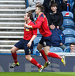 Ciaran Donnelly celebrates with Mark McGuigan after putting Albion Rpvers ahead