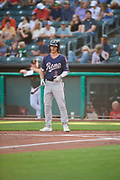Jake McCarthy (6) of the Reno Aces at bat against the Salt Lake Bees at Smith's Ballpark on August 24, 2021 in Salt Lake City, Utah. The Aces defeated the Bees 6-5. (Stephen Smith/Four Seam Images)