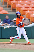 Freshman infielder Jordan Greene (9) of the Clemson Tigers of Fort Mill in a fall practice intra-squad Orange-Purple scrimmage on Saturday, September 26, 2015, at Doug Kingsmore Stadium in Clemson, South Carolina. (Tom Priddy/Four Seam Images)