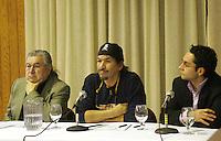 Raphael Picard, Jacob Wawati, Jean-Paul Gladu<br /> colloque Foret Boreale<br /> photo : Delphine Descamps - Images Distribution