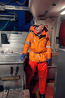 Fisherman Oddleif Torsteinsen on his boat Røstjenta..The Lofoten is a very important fishing center, especially for the cod (skrei in Norwegian), attracted by the rich food brought by the Gulf Stream.