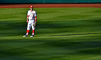 11 October 2012: Washington Nationals rookie outfielder Bryce Harper stands in the outfield during Postseason Playoff Game 4 of the National League Divisional Series against the St. Louis Cardinals at Nationals Park in Washington, DC. The Nationals defeated the Cardinals 2-1 on a 9th inning, walk-off solo home run by Jayson Werth, tying the Series at 2 games apiece. Mandatory Credit: Ed Wolfstein Photo