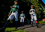 June 5, 2021: Jockeys head to the paddock before the running of the Belmont Stakes on Belmont Stakes Day at Belmont Park in Elmont, New York. Scott Serio/Eclipse Sportswire/CSM