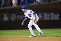 Chicago Cubs shortstop Addison Russell (27) in the third inning during Game 3 of the Major League Baseball World Series against the Cleveland Indians on October 28, 2016 at Wrigley Field in Chicago, Illinois.  (Mike Janes/Four Seam Images)