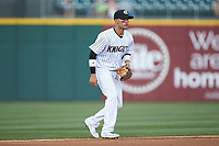 Charlotte Knights shortstop Ryan Goins (1) on defense against the Toledo Mud Hens at BB&T BallPark on April 24, 2019 in Charlotte, North Carolina. The Knights defeated the Mud Hens 9-6. (Brian Westerholt/Four Seam Images)