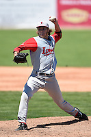 Lowell Spinners pitcher Jake Drehoff (32) delivers a pitch during a game against the Batavia Muckdogs on July 17, 2014 at Dwyer Stadium in Batavia, New York.  Batavia defeated Lowell 4-3.  (Mike Janes/Four Seam Images)