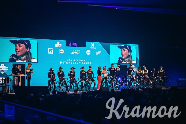 Team Mitchelton Scott (Men + Women) pre race team presentation in the infamous 'Kuipke' velodrome. <br /> <br /> 75th Omloop Het Nieuwsblad 2020 (BEL)<br /> Men Elite Race<br /> Gent – Ninove: 200km<br /> <br /> ©kramon