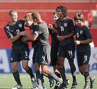 Nicholas Palodichuk celebreates his goal. The Under-17 US Men's National Team defeated Honduras 3-0 in the 2009 CONCACAF Under-17 Championship on April 25, 2009 in Tijuana, Mexico.