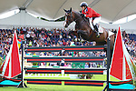 Equestrian - Showjumping - Meydan FEI Nations Cup.Beezie Madden (USA) aboard Coral Reef Via Volo in action during the Meydan FEI Nations Cup at the Royal Dublin Society (RDS) in Dublin.