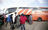 Pictured: Refugees are transferred away on coaches Thursday 25 February 2016<br /> Re: Refugees have been left stranded in temporary camps after Greek FYRO Macedonian borders were closed in Idomeni, northern Greece.