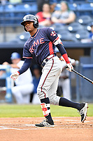 Rome Braves center fielder Cristian Pache (25) swings at a pitch during a game against the Asheville Tourists at McCormick Field on May 22, 2017 in Asheville, North Carolina. The Braves defeated the Tourists 7-3. (Tony Farlow/Four Seam Images)