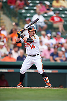 Baltimore Orioles Johnny Giavotella (16) at bat during a Spring Training exhibition game against the Dominican Republic on March 7, 2017 at Ed Smith Stadium in Sarasota, Florida.  Baltimore defeated the Dominican Republic 5-4.  (Mike Janes/Four Seam Images)